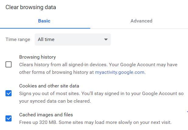 clear cache google chrome